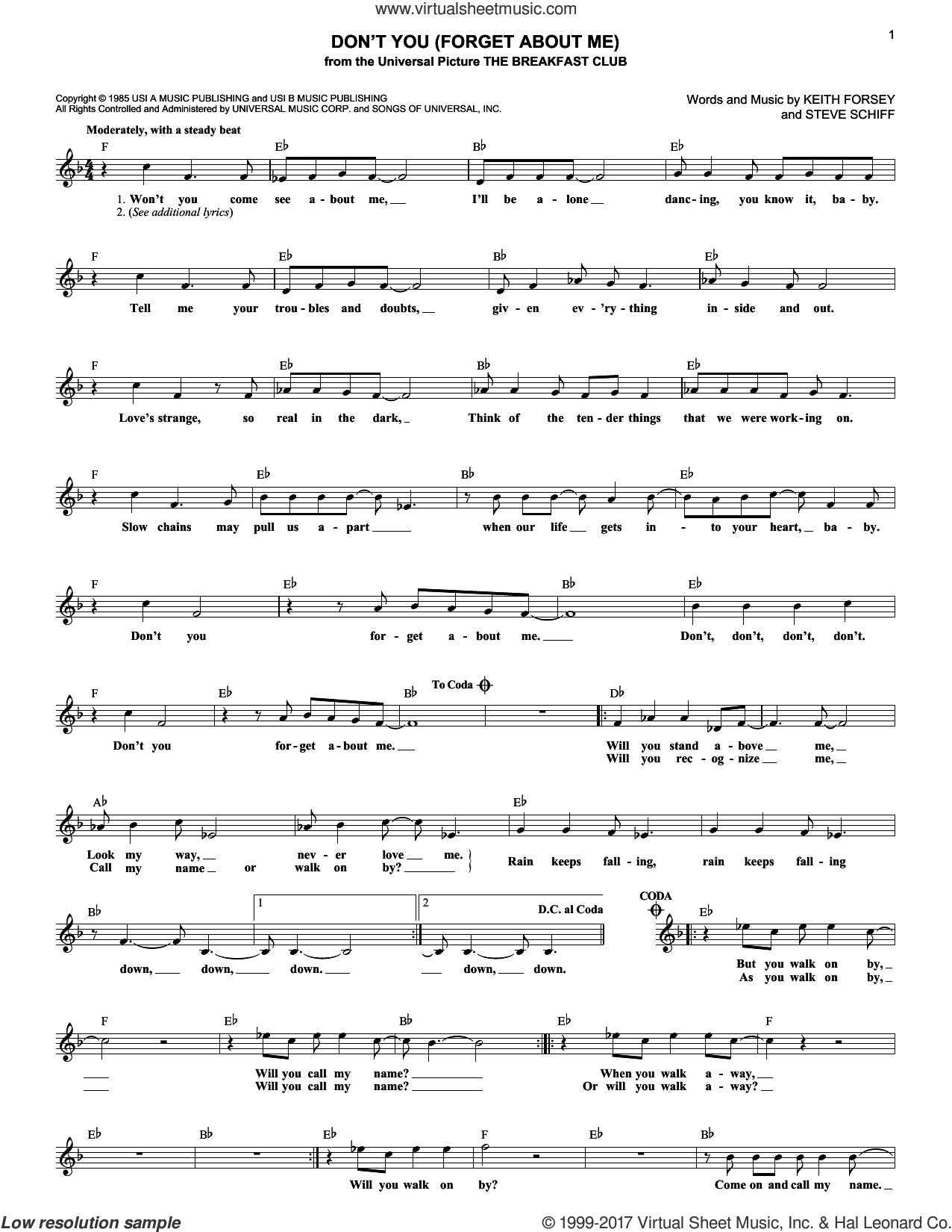 Don't You (Forget About Me) sheet music for voice and other instruments (fake book) by Simple Minds, Keith Forsey and Steve Schiff, intermediate