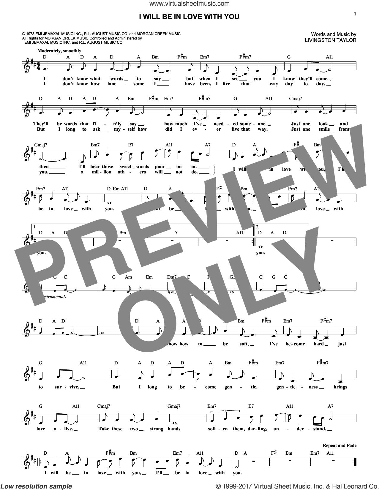 I Will Be In Love With You sheet music for voice and other instruments (fake book) by Livingston Taylor, intermediate skill level