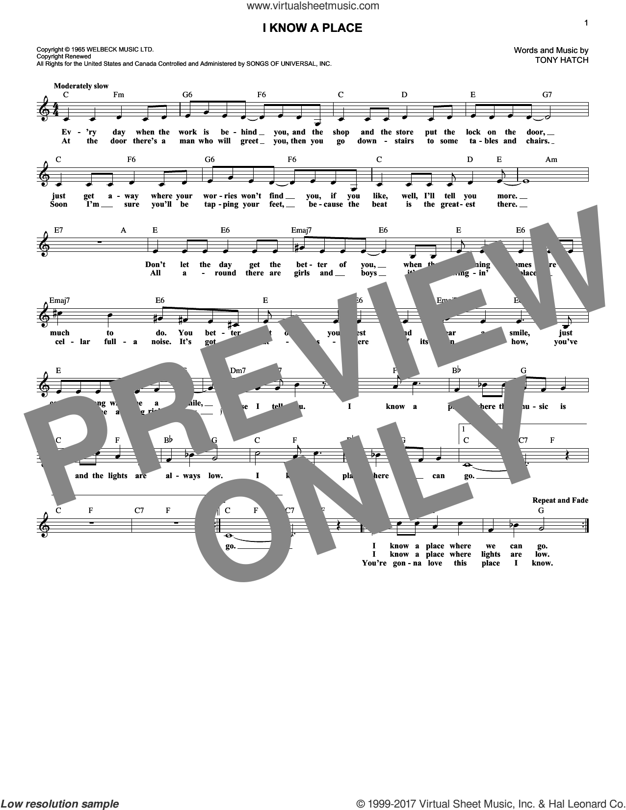 I Know A Place sheet music for voice and other instruments (fake book) by Petula Clark and Tony Hatch, intermediate. Score Image Preview.