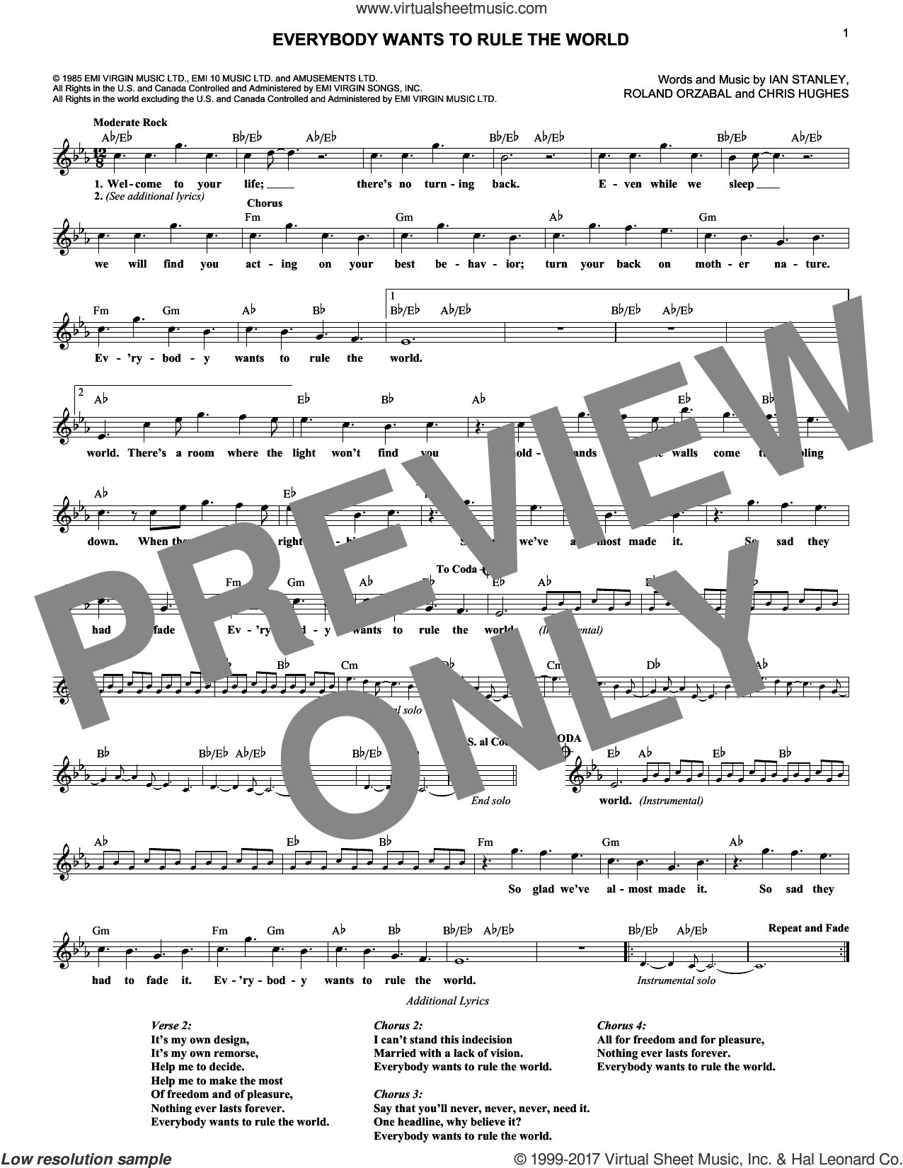 Everybody Wants To Rule The World sheet music for voice and other instruments (fake book) by Tears For Fears, Christopher Hughes, Ian Stanley and Roland Orzabal, intermediate