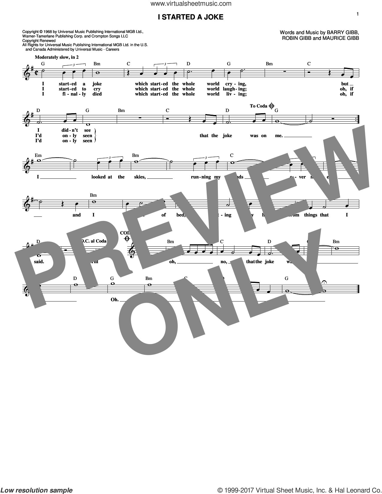 I Started A Joke sheet music for voice and other instruments (fake book) by Robin Gibb, Bee Gees, Barry Gibb and Maurice Gibb. Score Image Preview.