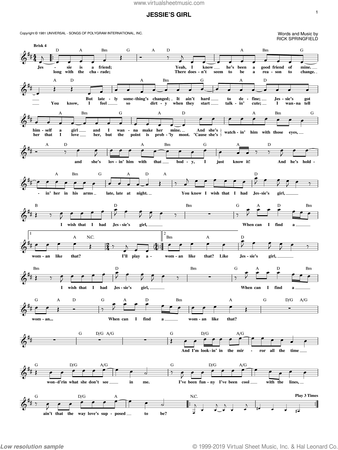 Jessie's Girl sheet music for voice and other instruments (fake book) by Rick Springfield, intermediate skill level