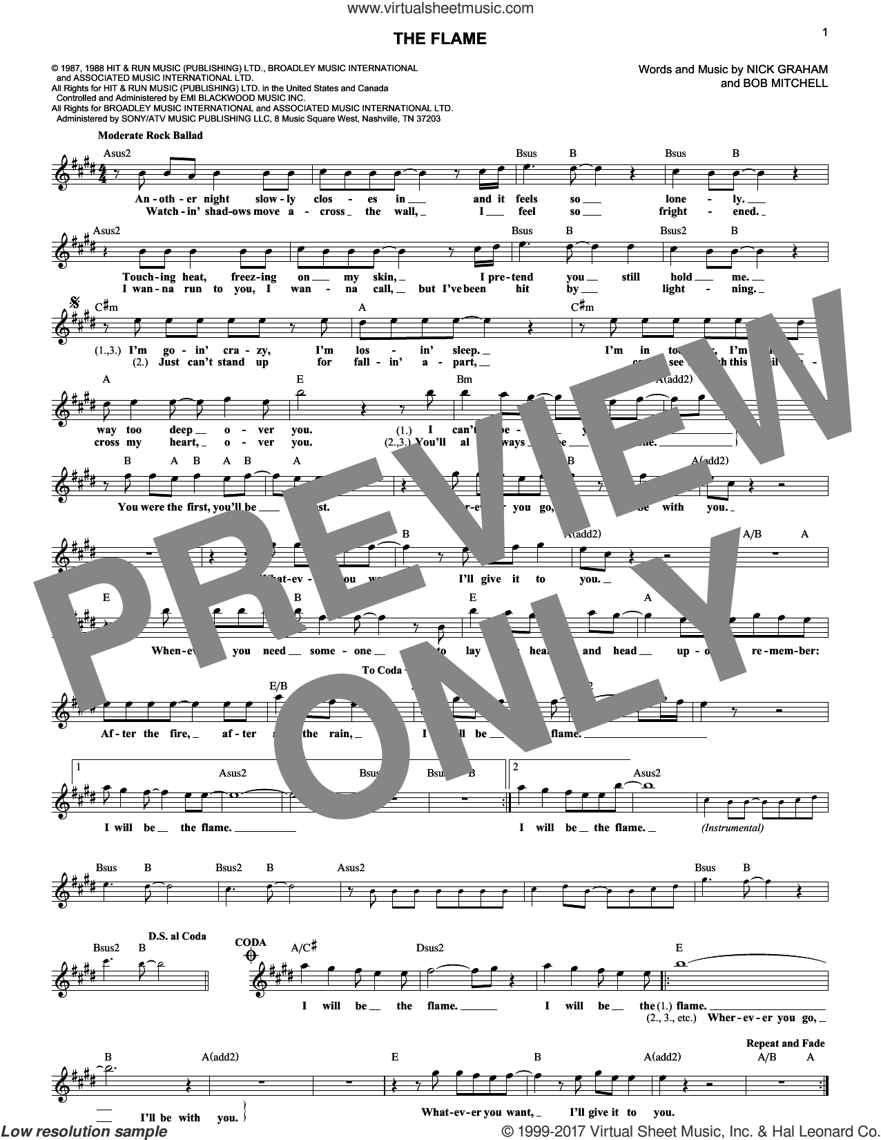The Flame sheet music for voice and other instruments (fake book) by Cheap Trick. Score Image Preview.