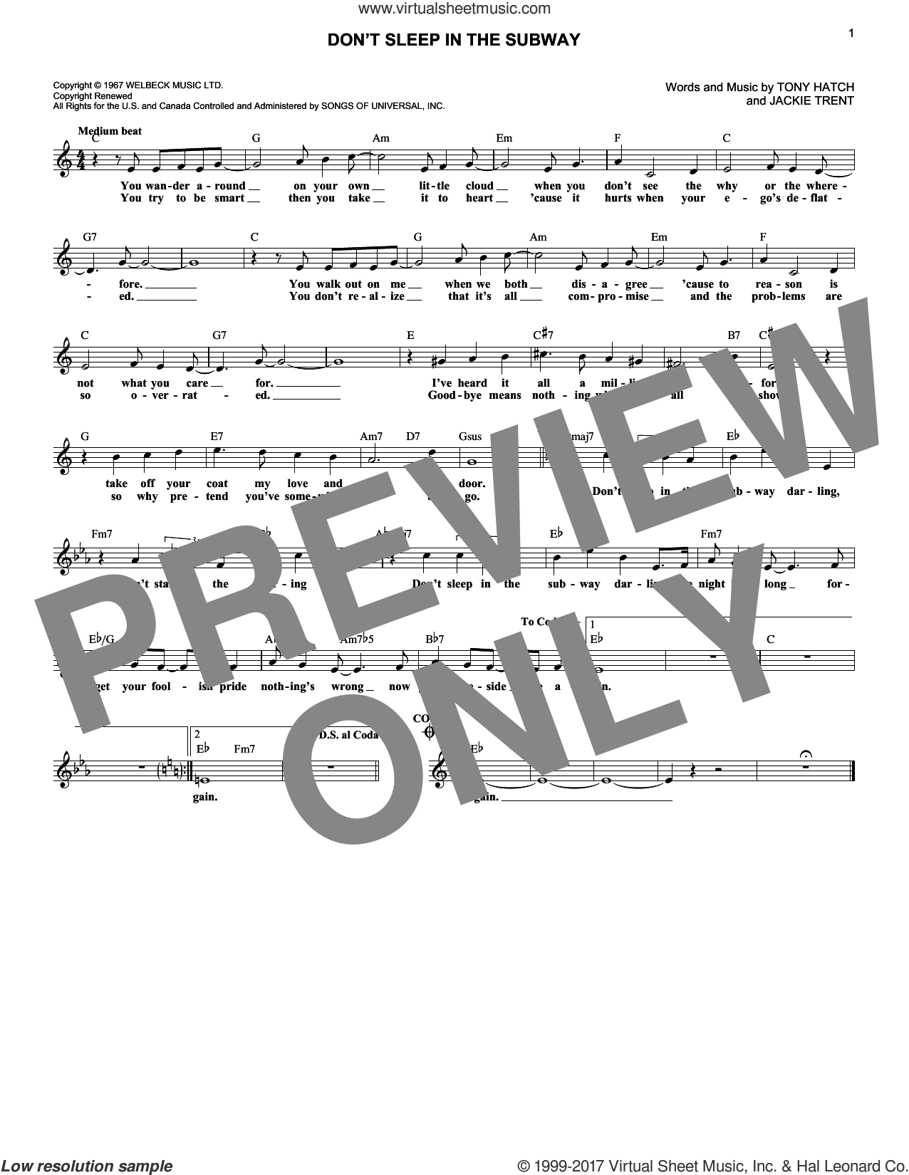 Don't Sleep In The Subway sheet music for voice and other instruments (fake book) by Tony Hatch, Petula Clark and Jackie Trent. Score Image Preview.