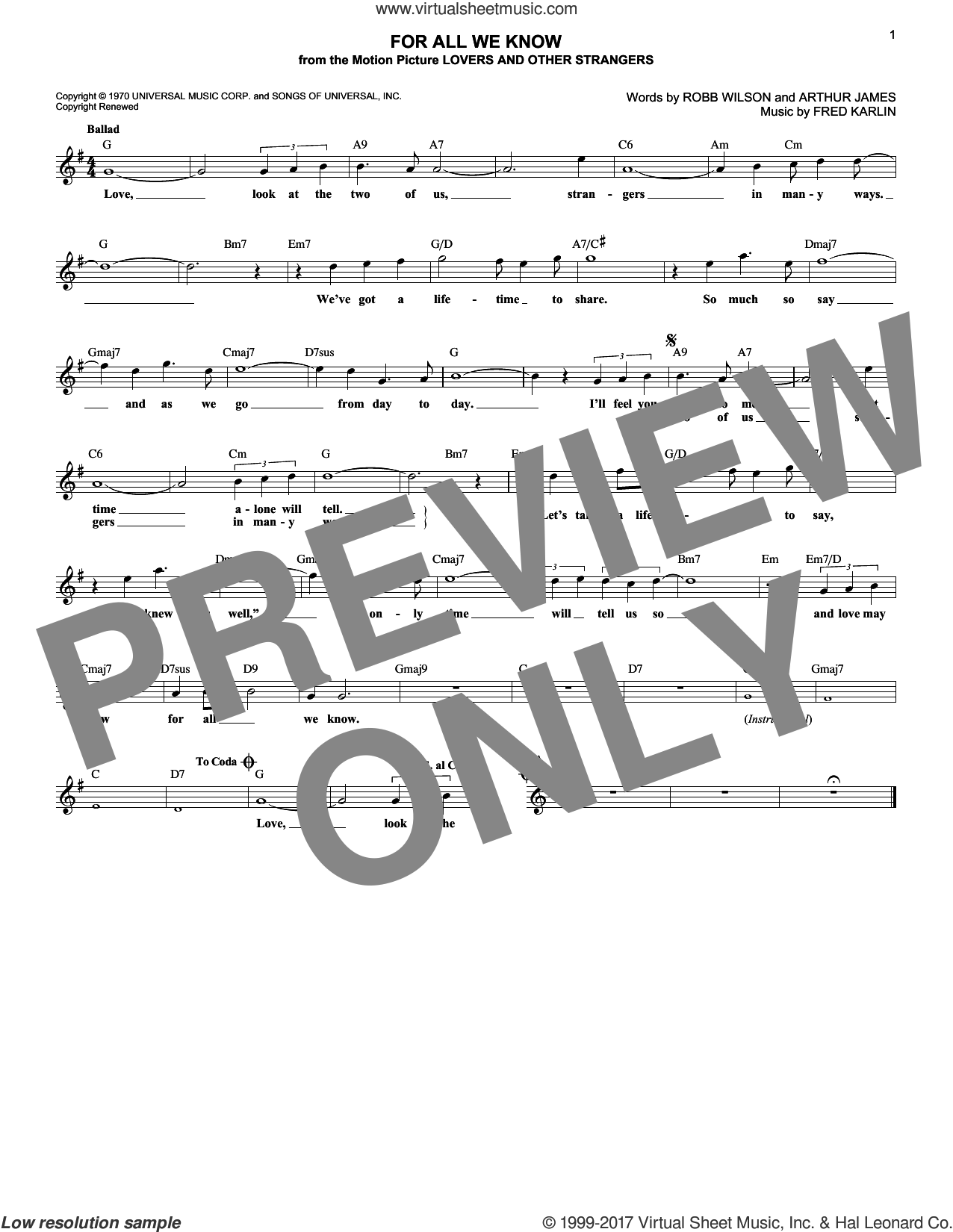 For All We Know sheet music for voice and other instruments (fake book) by Carpenters, Fred Karlin, James Griffin and Robb Wilson, intermediate skill level