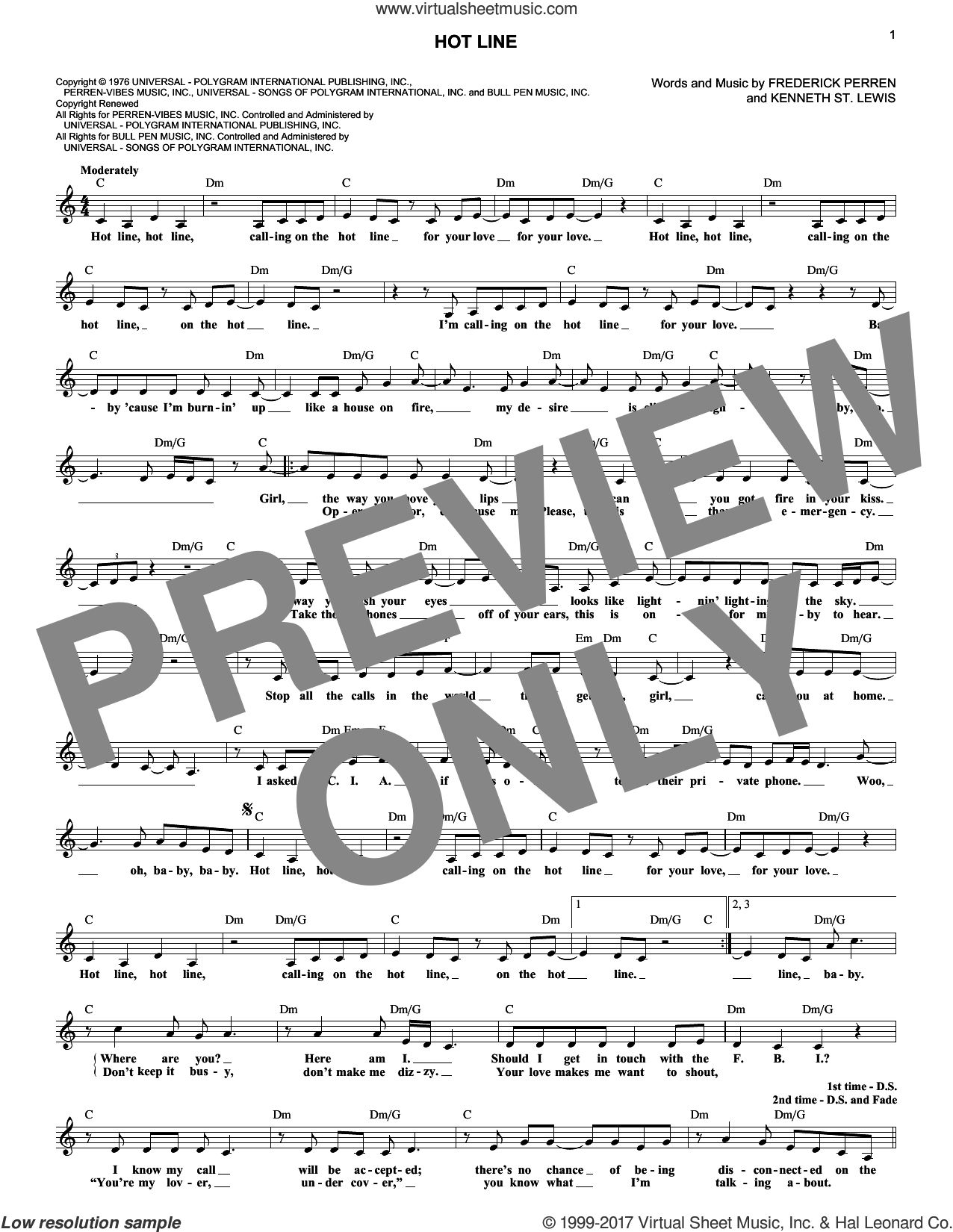 Hot Line sheet music for voice and other instruments (fake book) by The Sylvers, Frederick Perren and Kenneth St. Lewis, intermediate skill level