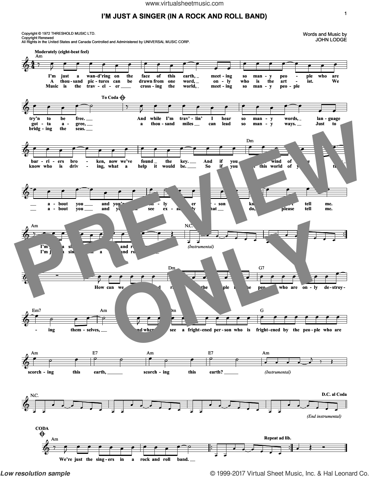 I'm Just A Singer (In A Rock And Roll Band) sheet music for voice and other instruments (fake book) by John Lodge and The Moody Blues. Score Image Preview.