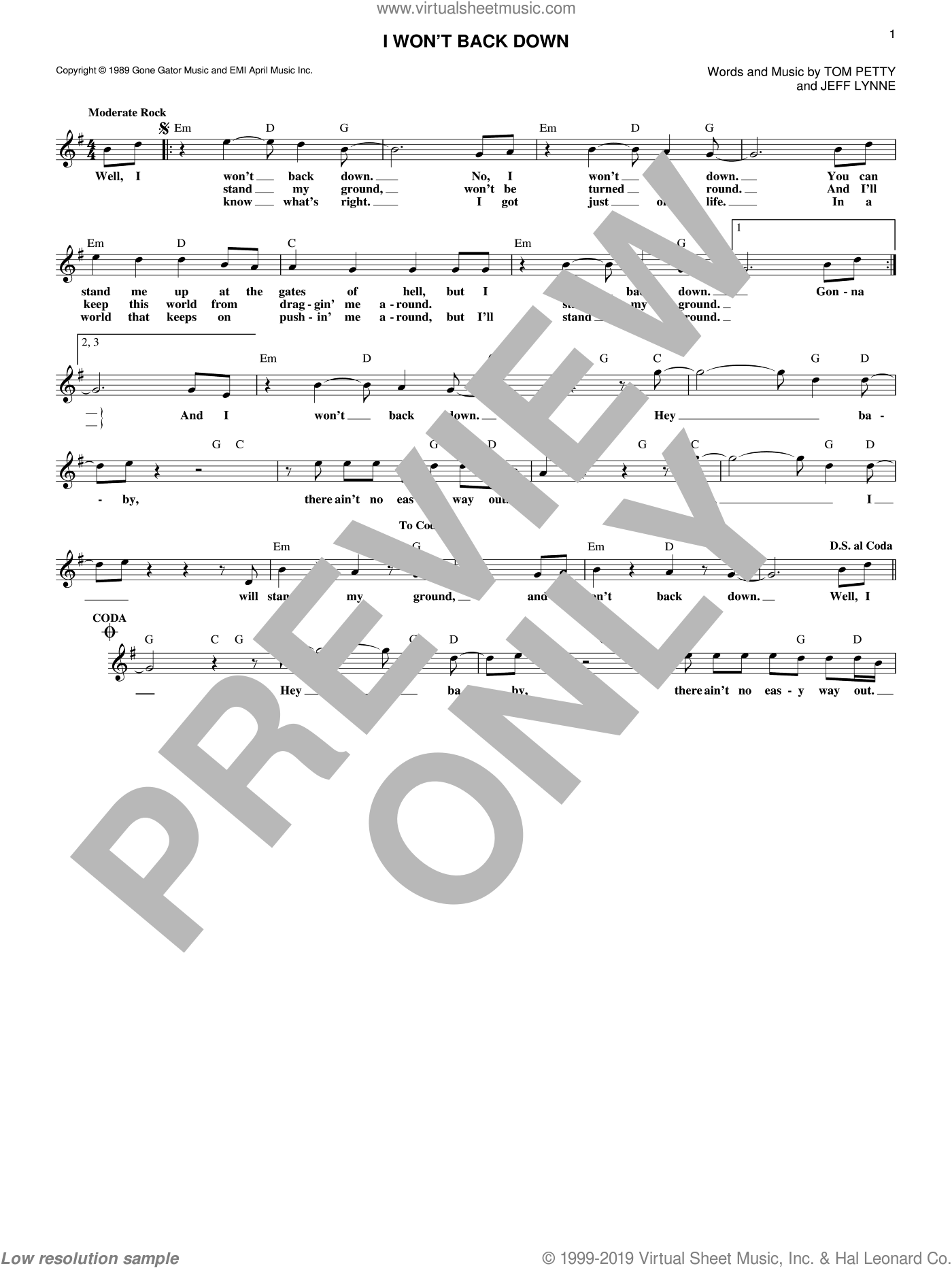 I Won't Back Down sheet music for voice and other instruments (fake book) by Tom Petty and Jeff Lynne. Score Image Preview.