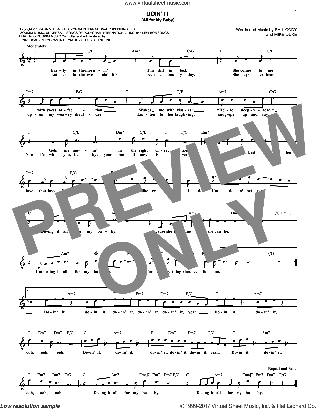Doin' It (All For My Baby) sheet music for voice and other instruments (fake book) by Huey Lewis & The News, Mike Duke and Phil Cody, intermediate skill level