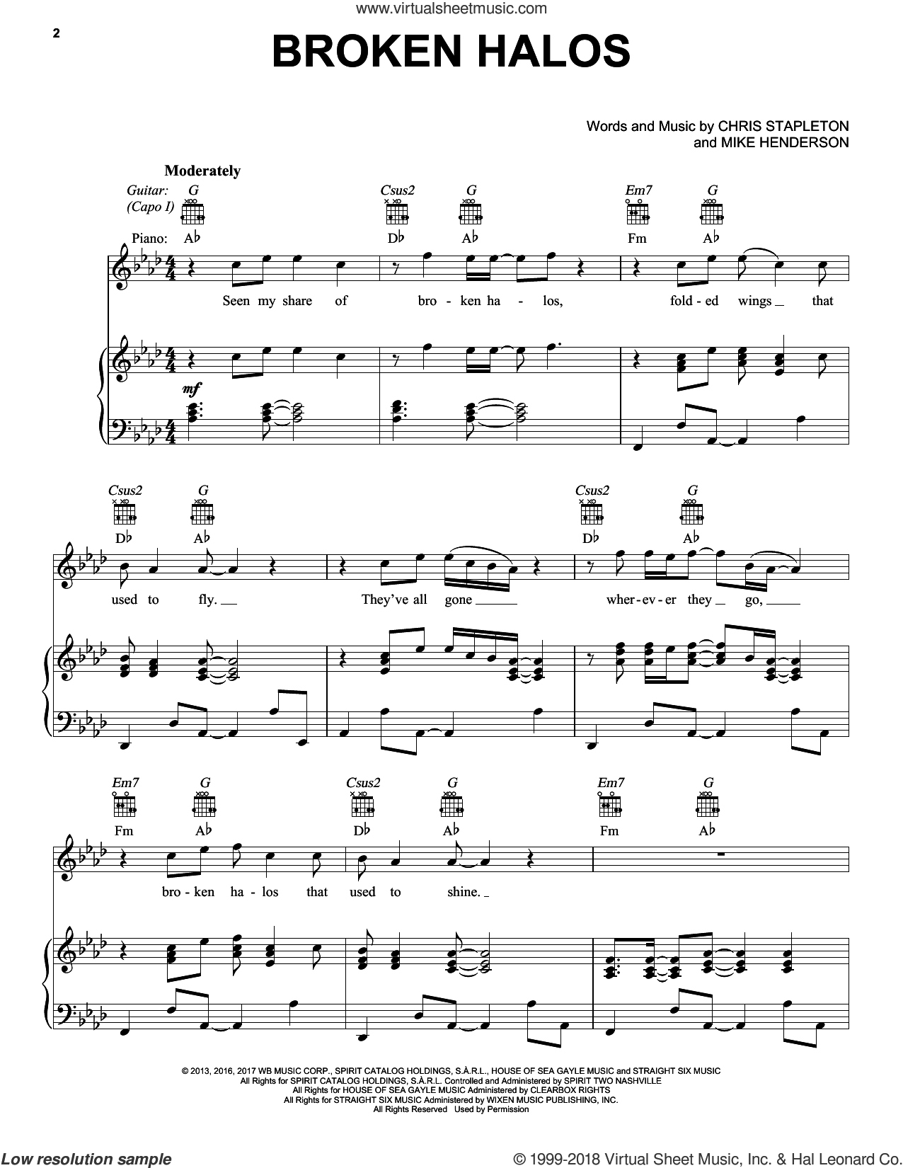 Broken Halos sheet music for voice, piano or guitar by Chris Stapleton and Mike Henderson, intermediate skill level
