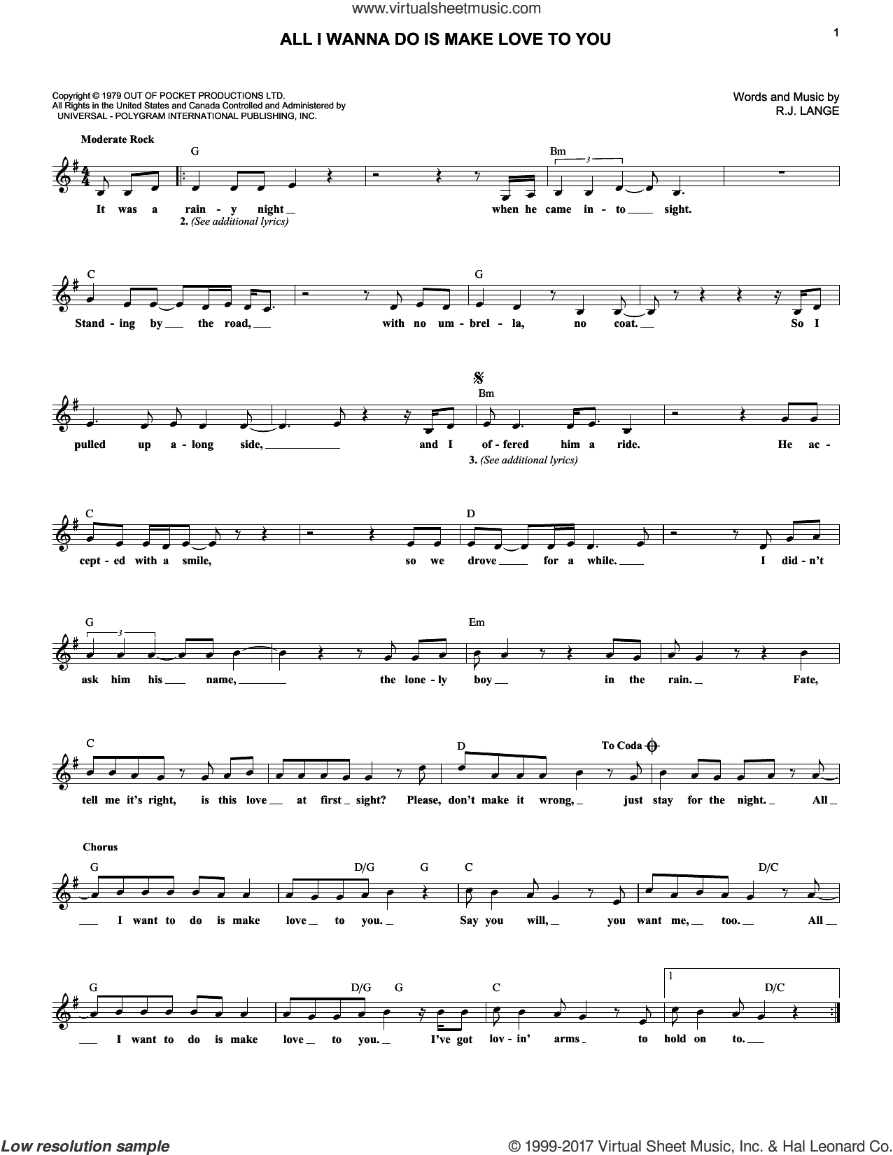All I Wanna Do Is Make Love To You sheet music for voice and other instruments (fake book) by Robert John Lange, intermediate skill level