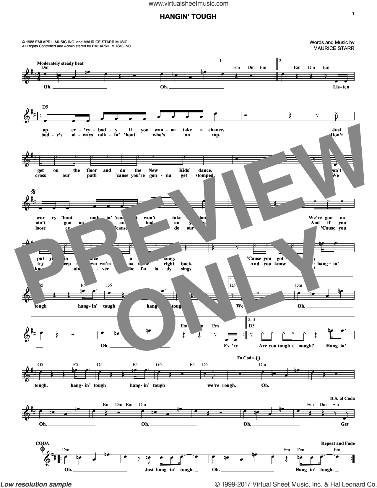 Hangin' Tough sheet music for voice and other instruments (fake book) by New Kids On The Block and Maurice Starr. Score Image Preview.