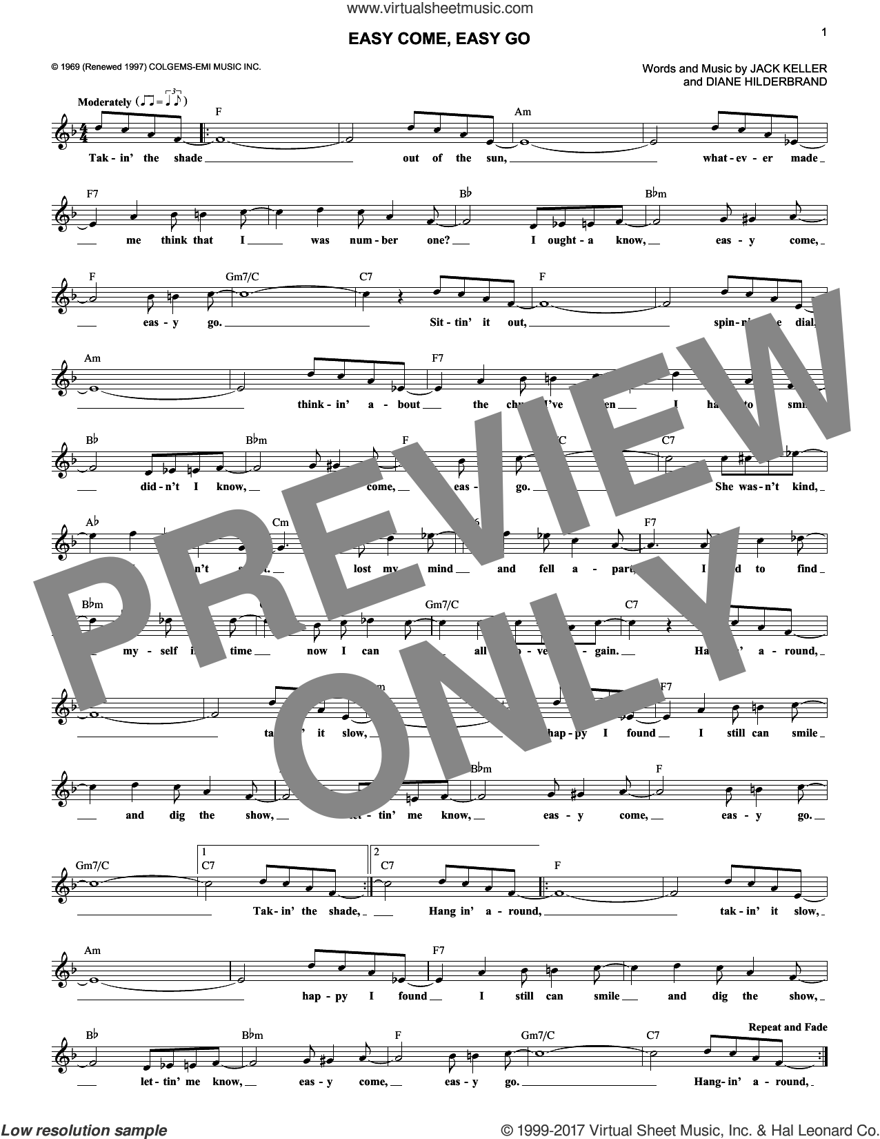 Easy Come, Easy Go sheet music for voice and other instruments (fake book) by Bobby Sherman, Diane Hilderbrand and Jack Keller, intermediate skill level