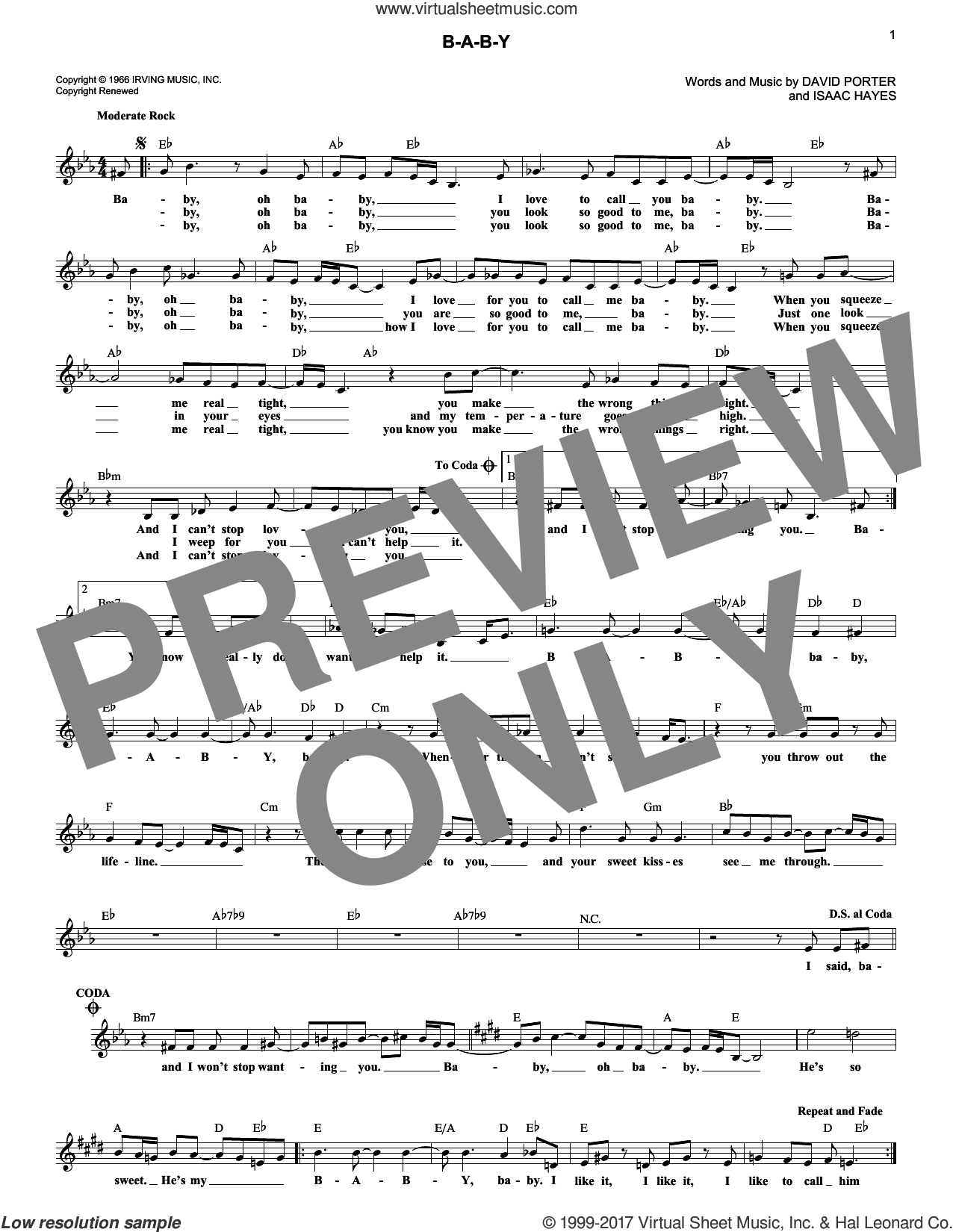 B-A-B-Y sheet music for voice and other instruments (fake book) by Carla Thomas, David Porter and Isaac Hayes, intermediate skill level