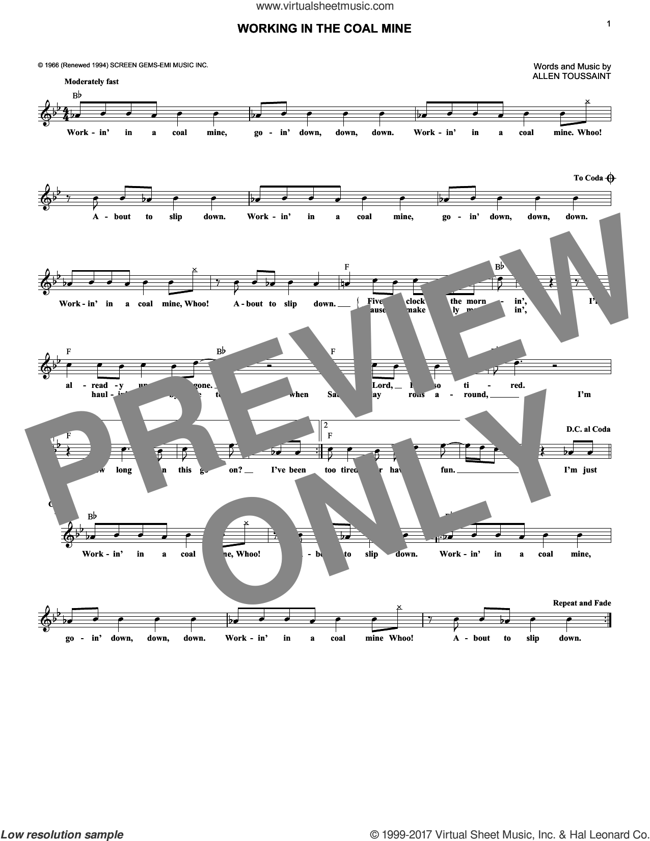Working In The Coal Mine sheet music for voice and other instruments (fake book) by Lee Dorsey and Allen Toussaint, intermediate. Score Image Preview.