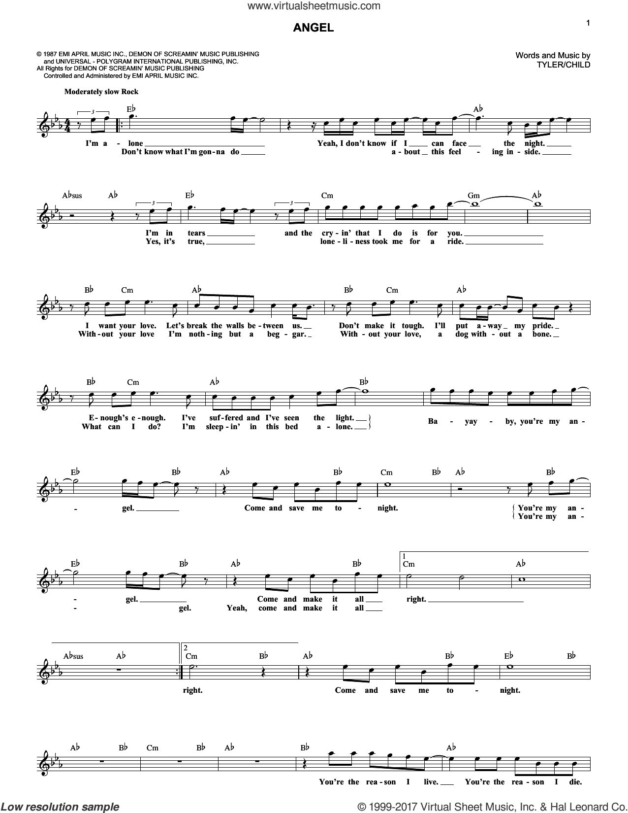 Angel sheet music for voice and other instruments (fake book) by Aerosmith and Desmond Child. Score Image Preview.