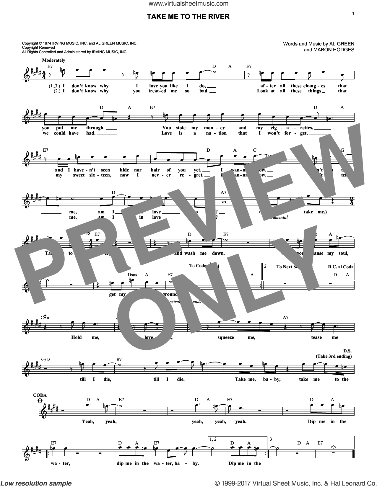Take Me To The River sheet music for voice and other instruments (fake book) by Al Green, Annie Lennox and Mabon Hodges, intermediate skill level