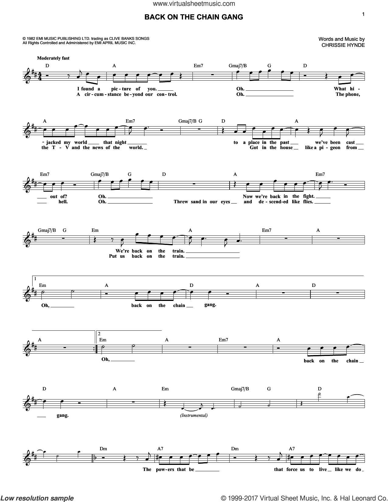 Back On The Chain Gang sheet music for voice and other instruments (fake book) by Pretenders and Chrissie Hynde, intermediate skill level