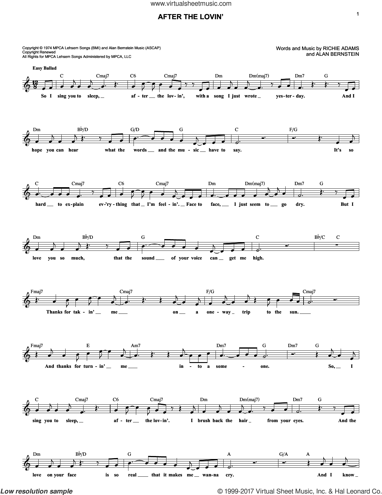 After The Lovin' sheet music for voice and other instruments (fake book) by Engelbert Humperdinck, intermediate. Score Image Preview.
