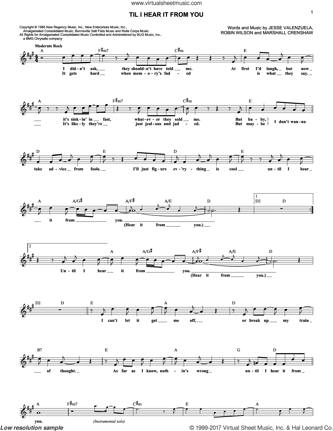 Til I Hear It From You sheet music for voice and other instruments (fake book) by Gin Blossoms, Jesse Valenzuela, Marshall Crenshaw and Robin Wilson, intermediate skill level