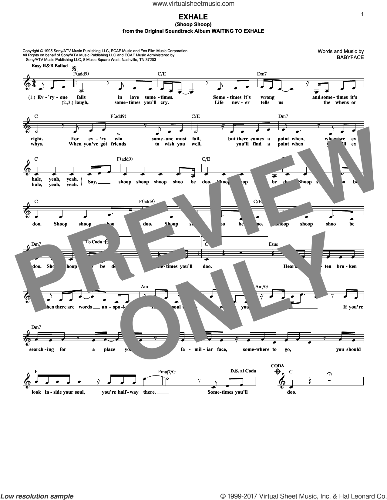 Exhale (Shoop Shoop) sheet music for voice and other instruments (fake book) by Whitney Houston and Babyface, intermediate. Score Image Preview.