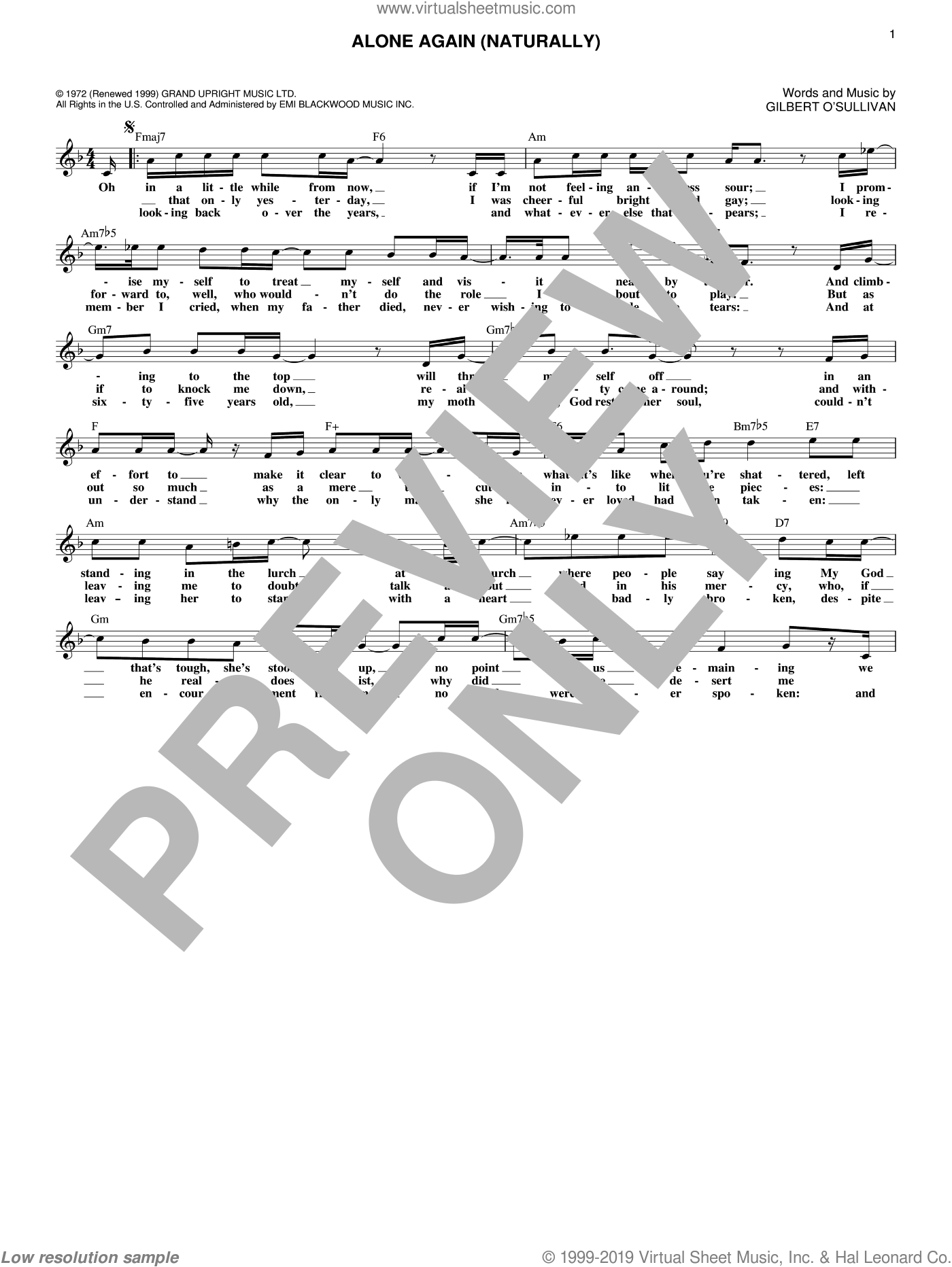 Alone Again (Naturally) sheet music for voice and other instruments (fake book) by Gilbert O'Sullivan, intermediate skill level