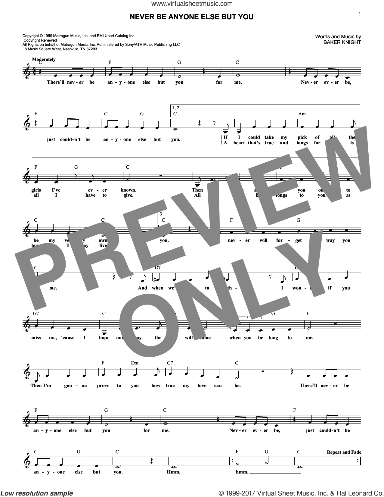 Never Be Anyone Else But You sheet music for voice and other instruments (fake book) by Ricky Nelson, intermediate. Score Image Preview.
