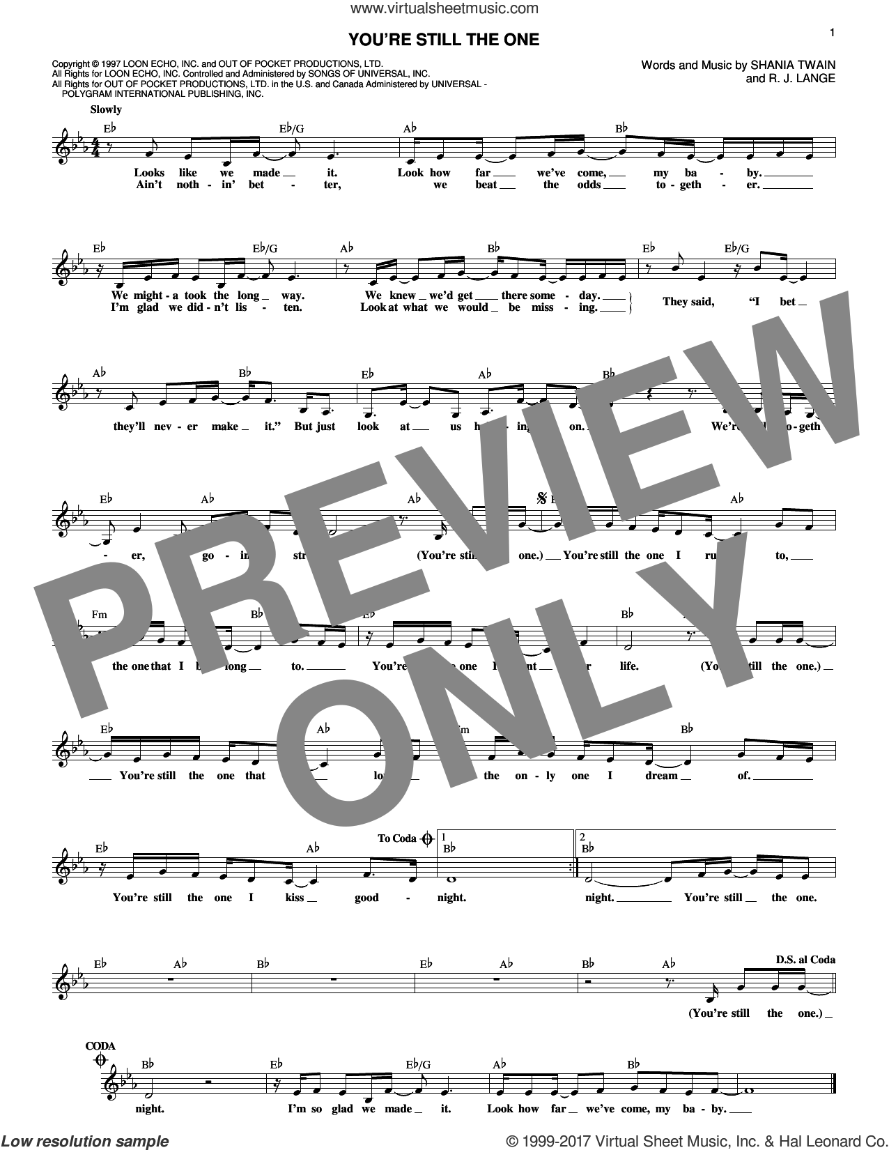 You're Still The One sheet music for voice and other instruments (fake book) by Shania Twain and Robert John Lange, intermediate