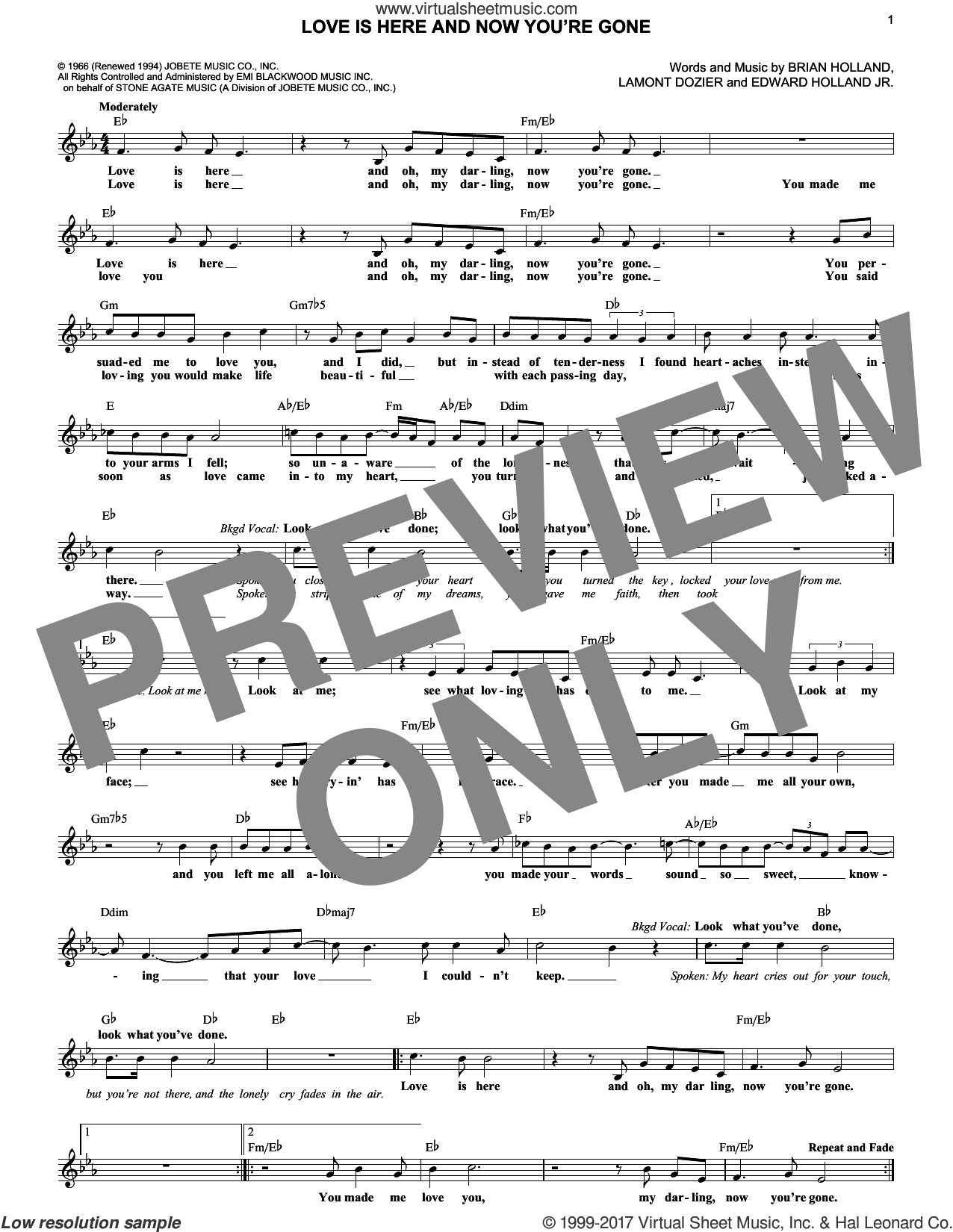 Love Is Here And Now You're Gone sheet music for voice and other instruments (fake book) by The Supremes, Brian Holland, Edward Holland Jr. and Lamont Dozier, intermediate skill level