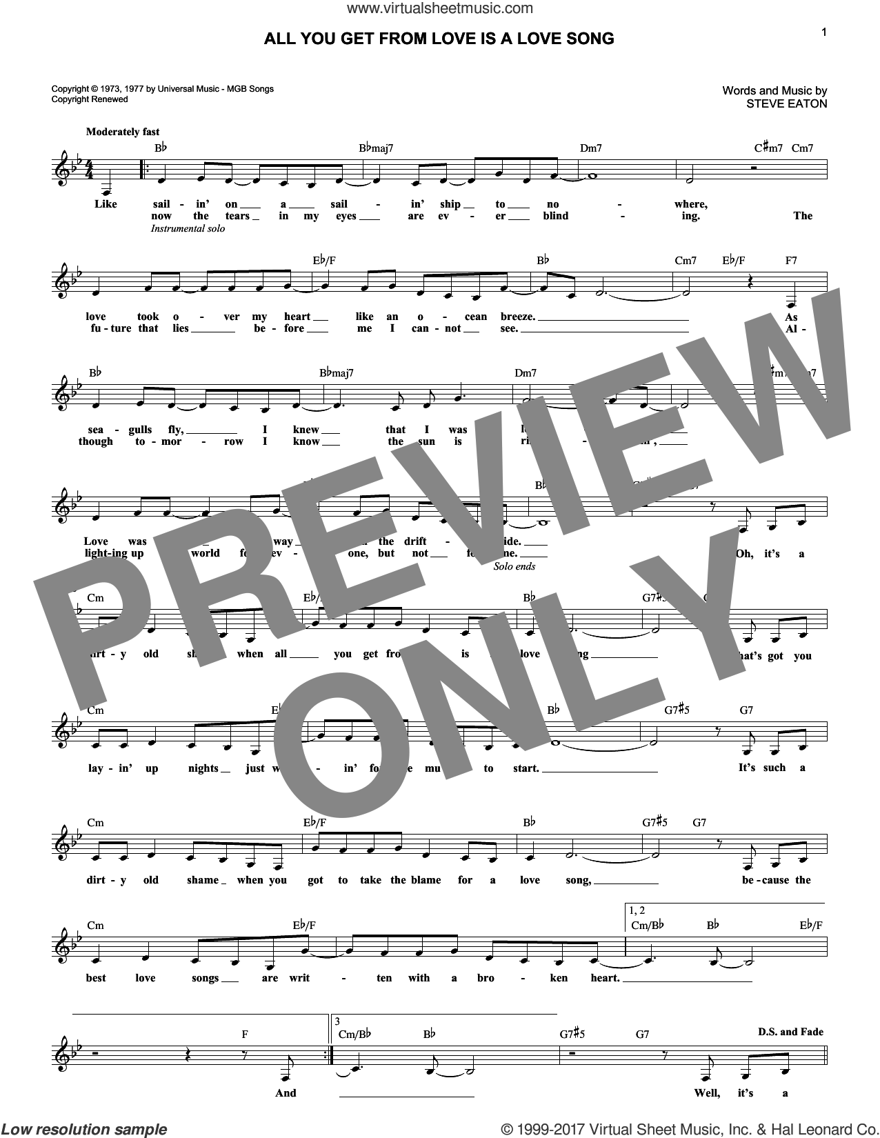 All You Get From Love Is A Love Song sheet music for voice and other instruments (fake book) by Carpenters and Steve Eaton, intermediate skill level