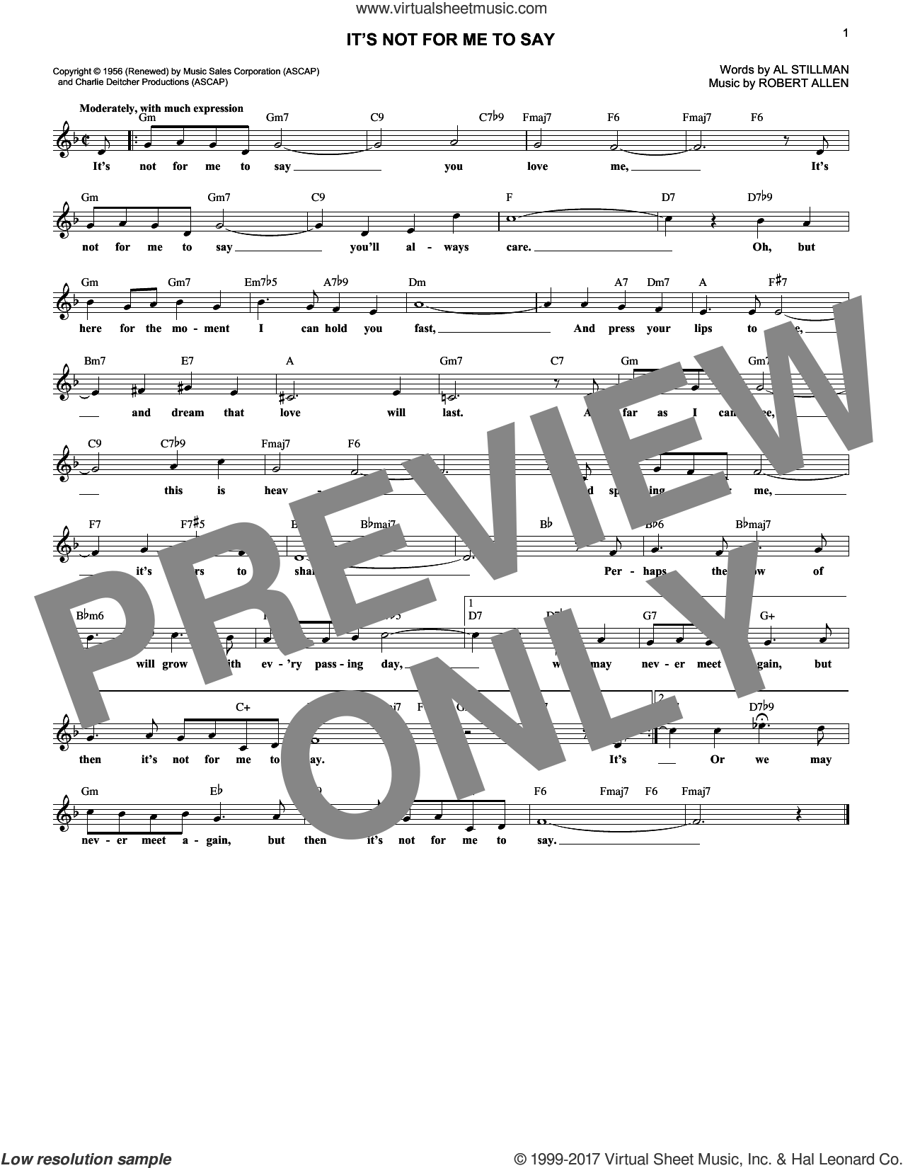 It's Not For Me To Say sheet music for voice and other instruments (fake book) by Johnny Mathis, Al Stillman and Robert Allen, intermediate skill level