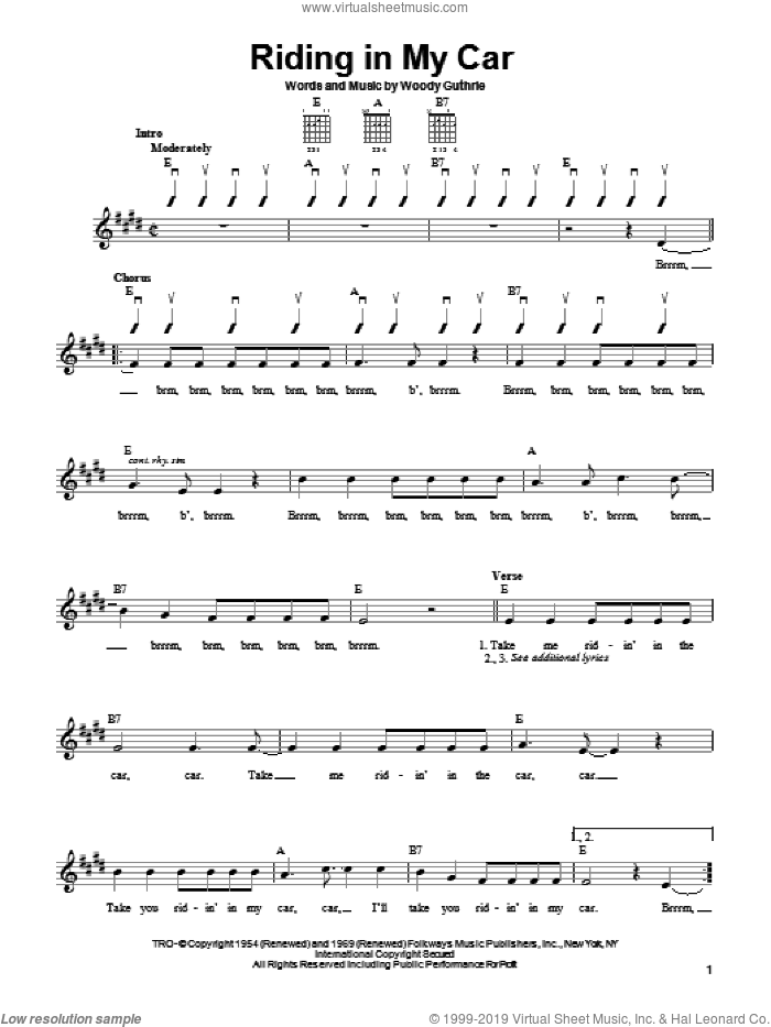Riding In My Car sheet music for guitar solo (chords) by Woody Guthrie, easy guitar (chords)