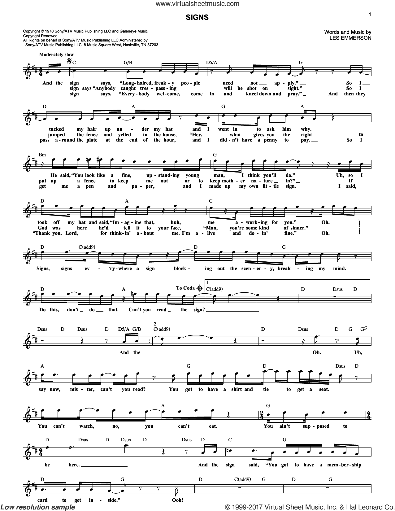Signs sheet music for voice and other instruments (fake book) by Five Man Electrical Band, Tesla and Les Emmerson, intermediate skill level