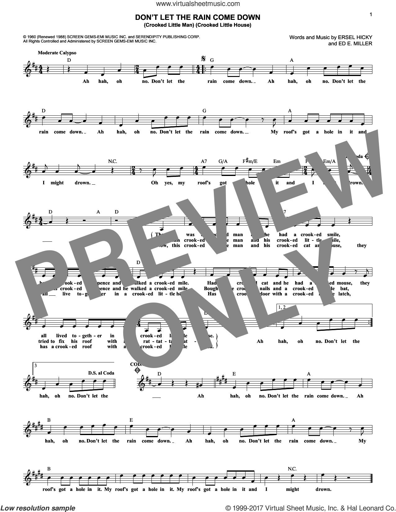 Don't Let The Rain Come Down (Crooked Little Man) (Crooked Little House) sheet music for voice and other instruments (fake book) by Serendipity Singers, Ed. E. Miller and Ersel Hicky, intermediate skill level