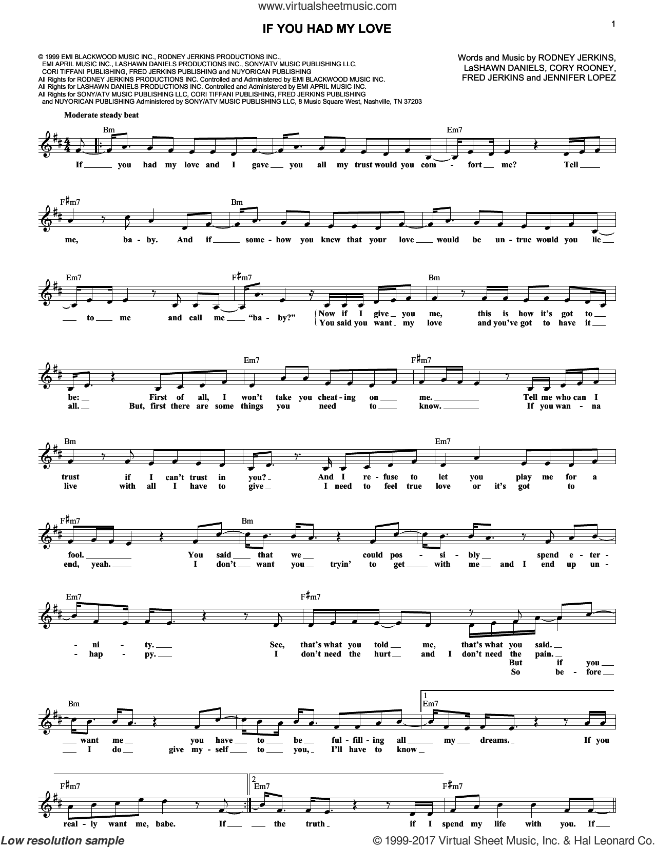 If You Had My Love sheet music for voice and other instruments (fake book) by Jennifer Lopez, Cory Rooney, Fred Jerkins, LaShawn Daniels and Rodney Jerkins, intermediate skill level