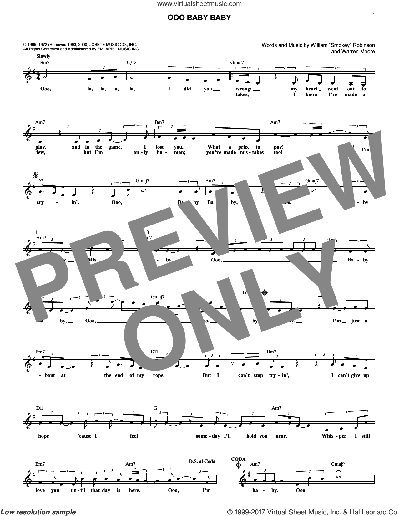 Ooo Baby Baby sheet music for voice and other instruments (fake book) by William 'Smokey' Robinson, Linda Ronstadt and The Miracles, intermediate. Score Image Preview.