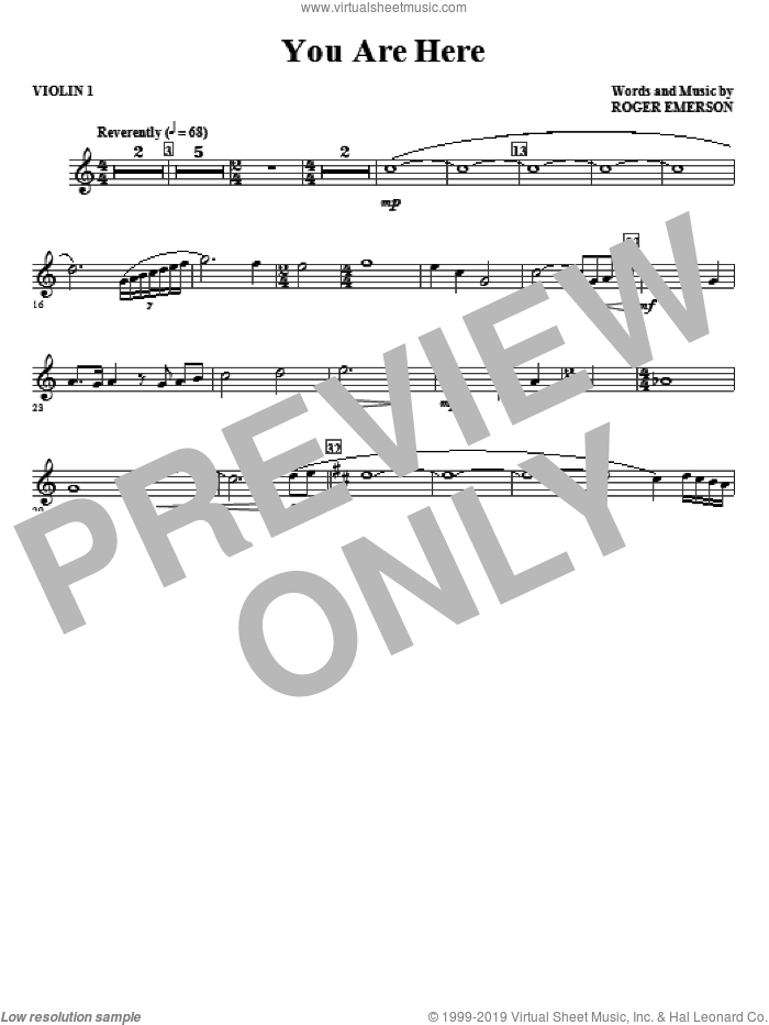You Are Here (complete set of parts) sheet music for orchestra/band (Strings) by Roger Emerson, intermediate skill level