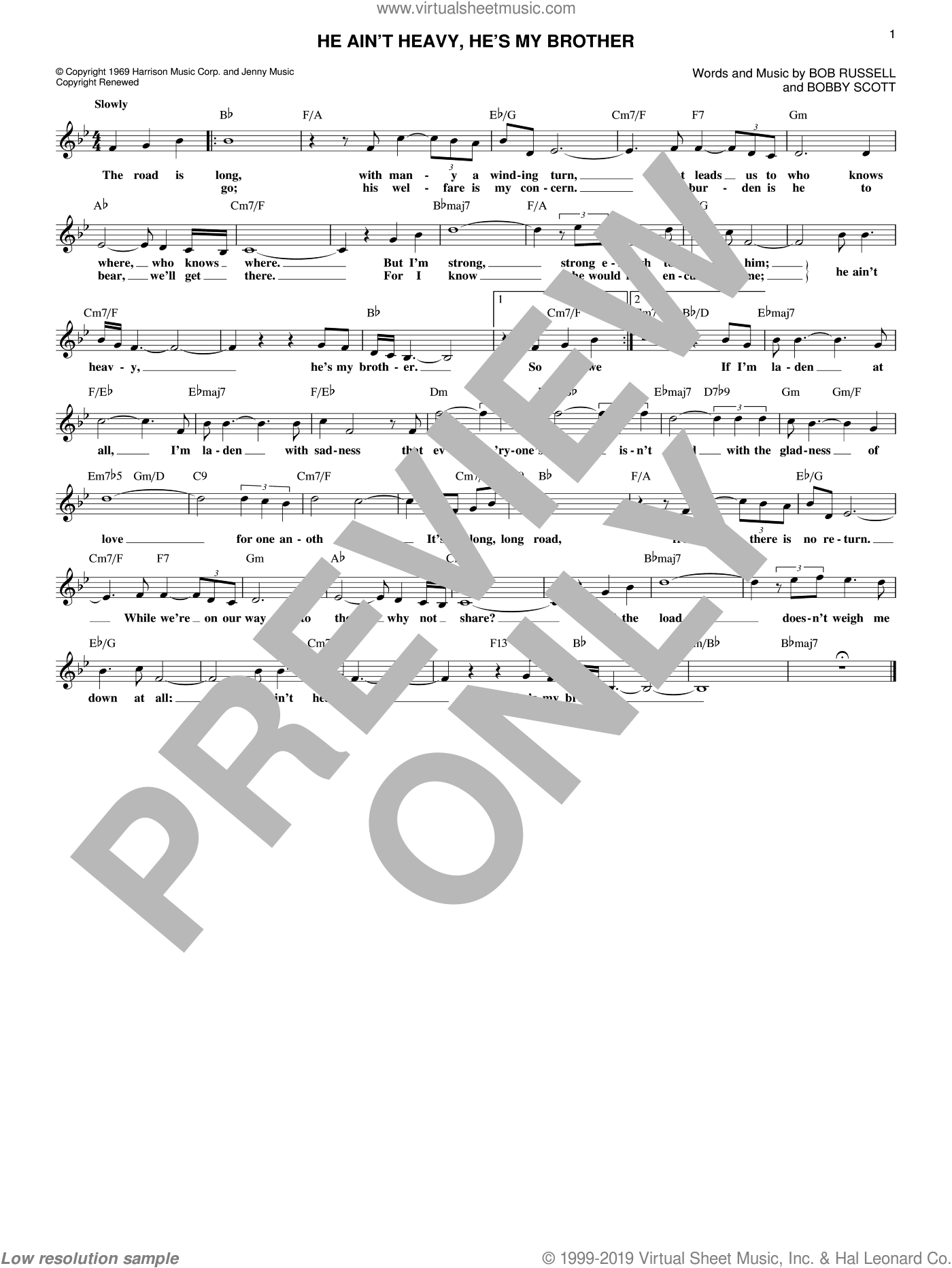 He Ain't Heavy, He's My Brother sheet music for voice and other instruments (fake book) by The Hollies, Neil Diamond, Bob Russell and Bobby Scott, intermediate skill level