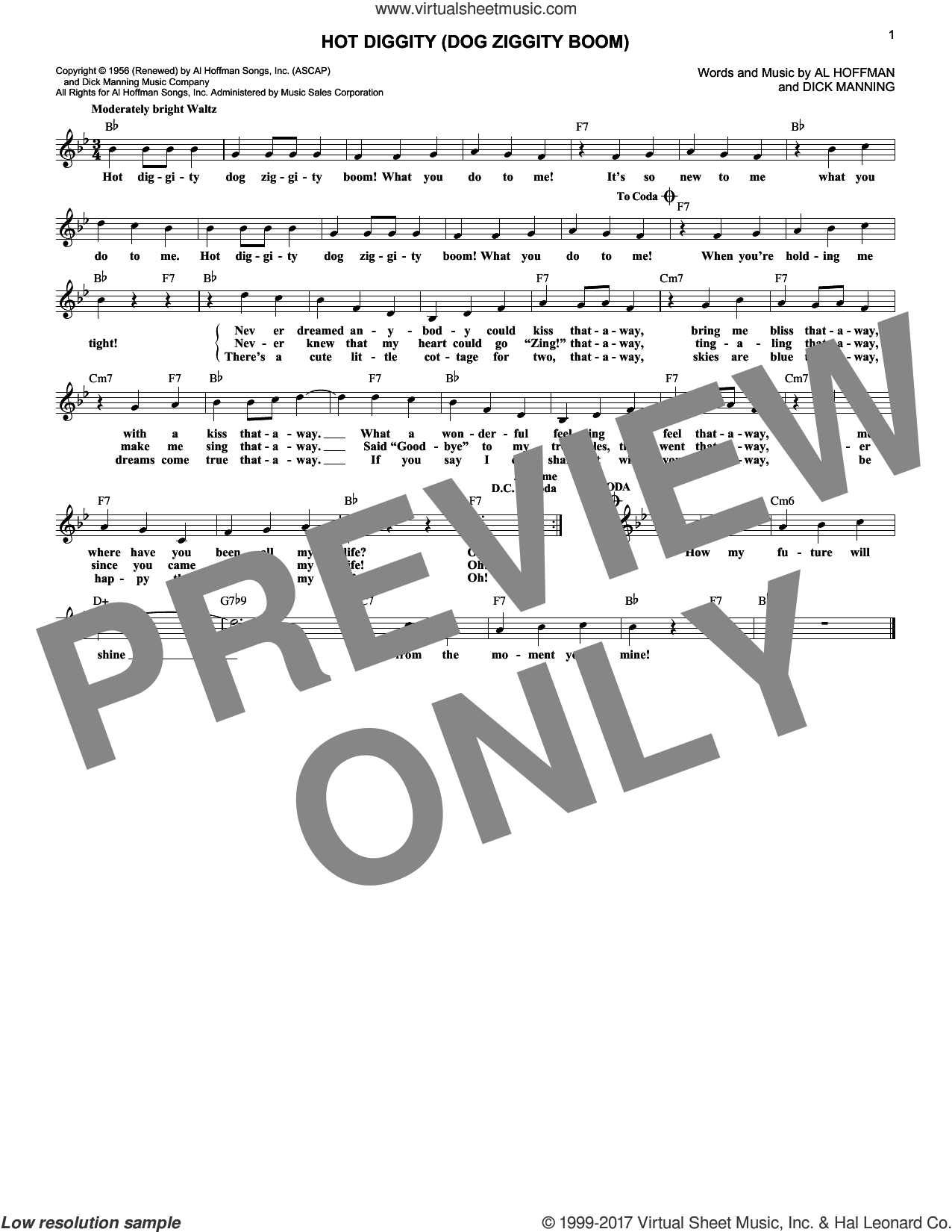 Hot Diggity (Dog Ziggity Boom) sheet music for voice and other instruments (fake book) by Perry Como, Al Hoffman and Dick Manning, intermediate. Score Image Preview.