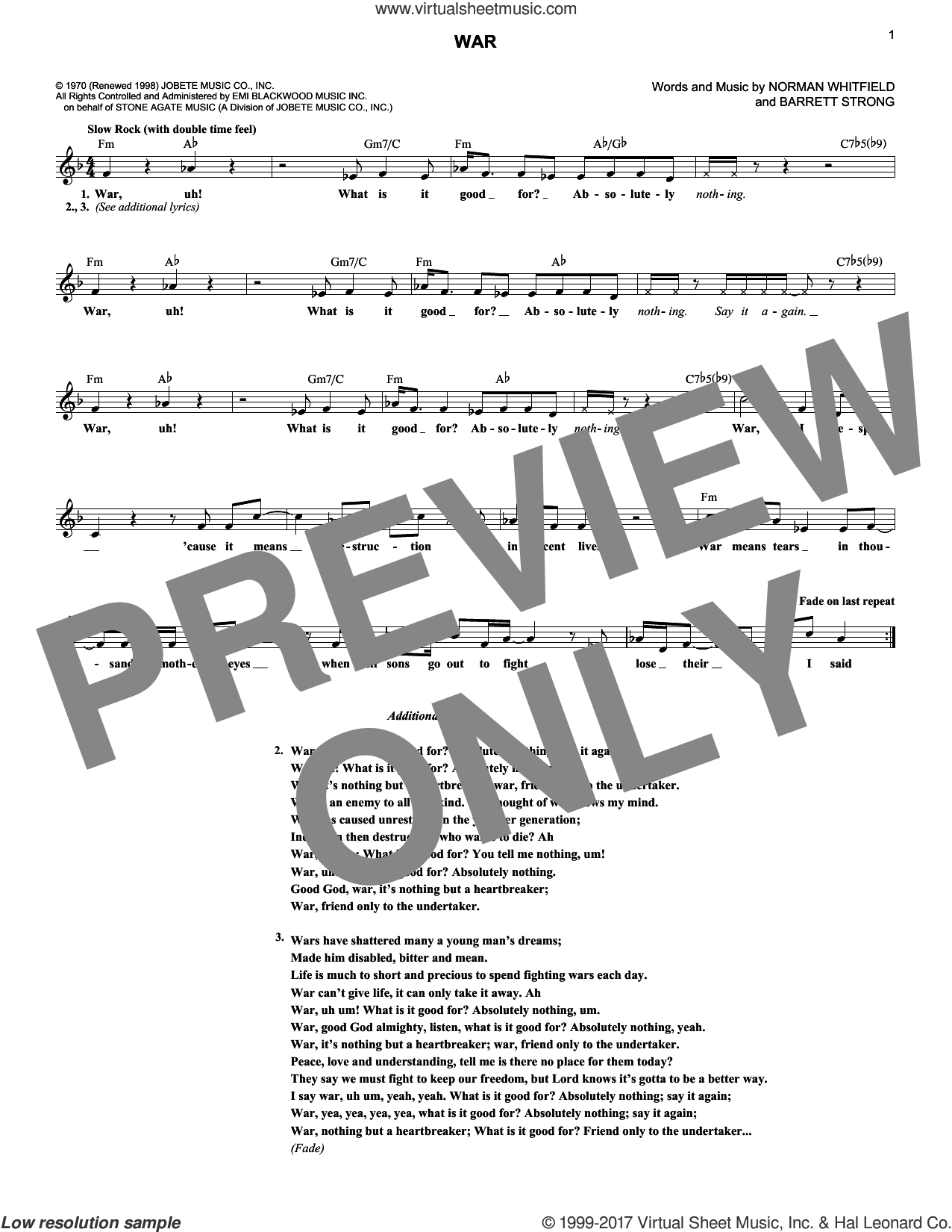 War sheet music for voice and other instruments (fake book) by Edwin Starr, Barrett Strong and Norman Whitfield, intermediate. Score Image Preview.