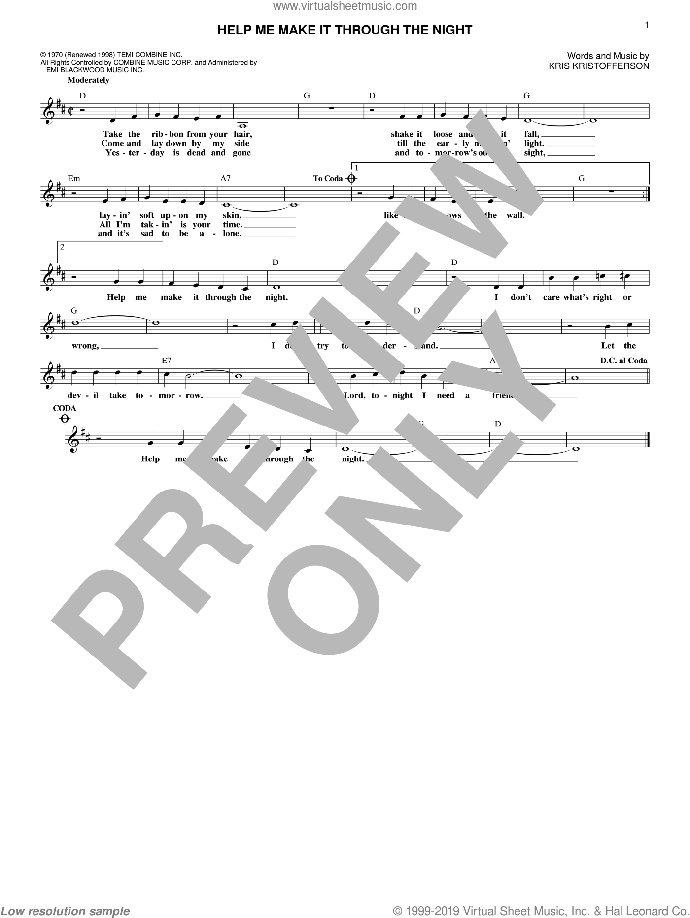 Help Me Make It Through The Night sheet music for voice and other instruments (fake book) by Kris Kristofferson, Elvis Presley, Sammi Smith and Willie Nelson, intermediate. Score Image Preview.