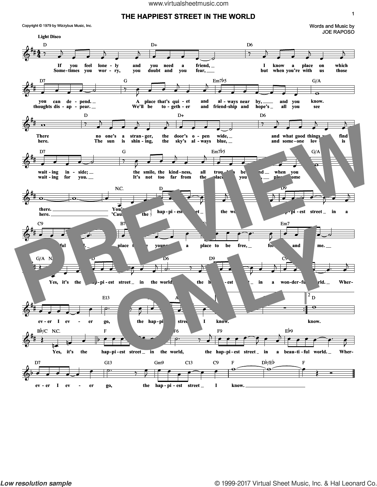 The Happiest Street In The World sheet music for voice and other instruments (fake book) by Joe Raposo, intermediate skill level