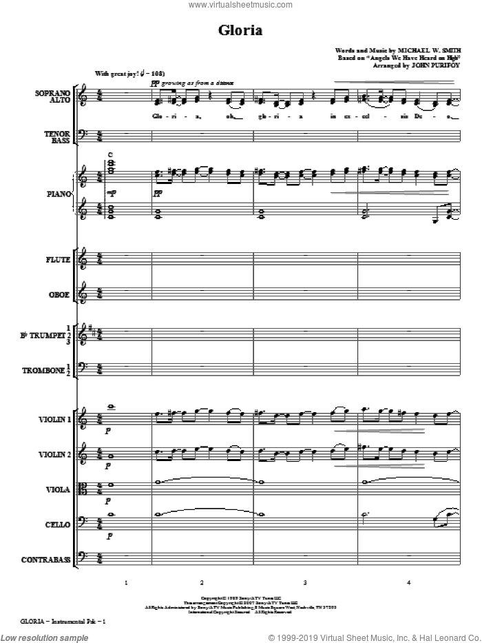 Gloria (COMPLETE) sheet music for orchestra/band (chamber ensemble) by John Purifoy and Michael W. Smith, intermediate skill level