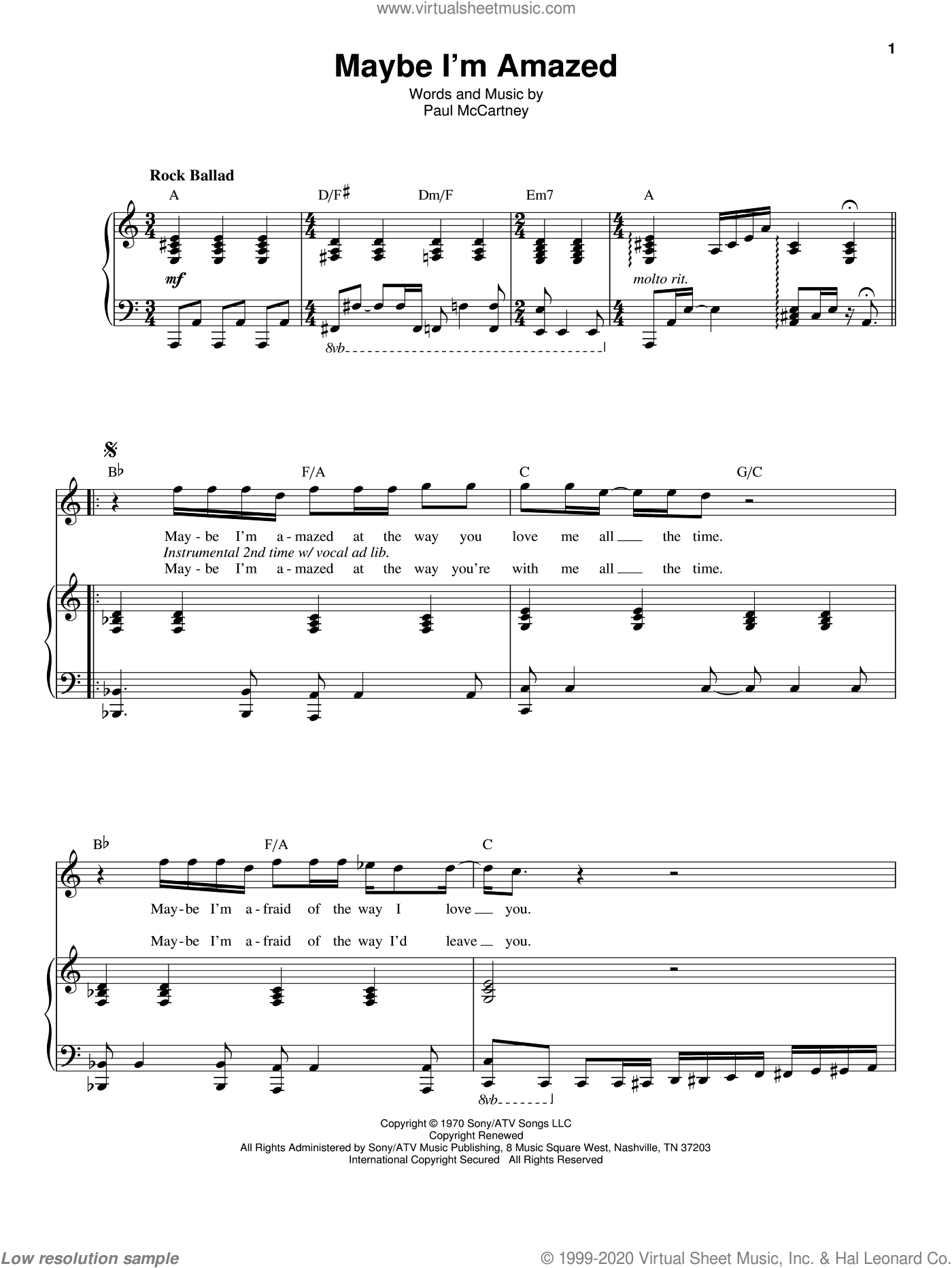 Maybe I'm Amazed sheet music for voice and piano by Paul McCartney, intermediate skill level