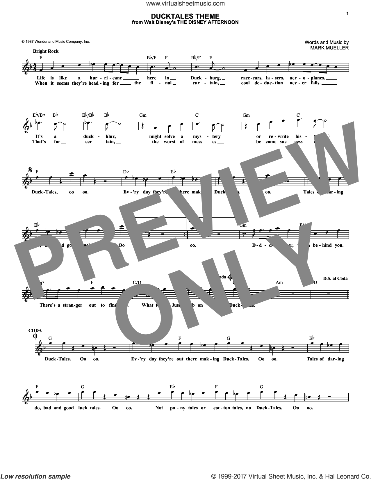 DuckTales Theme sheet music for voice and other instruments (fake book) by Mark Mueller, intermediate skill level