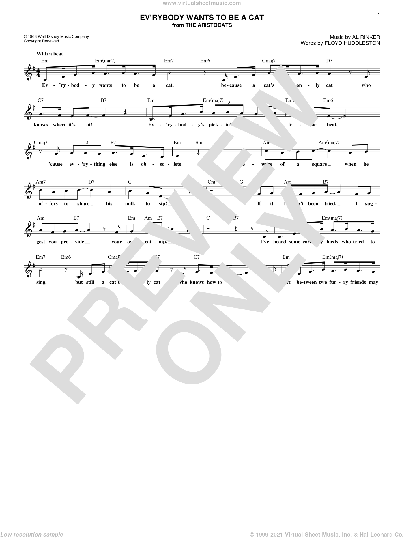 Ev'rybody Wants To Be A Cat sheet music for voice and other instruments (fake book) by Al Rinker and Floyd Huddleston. Score Image Preview.