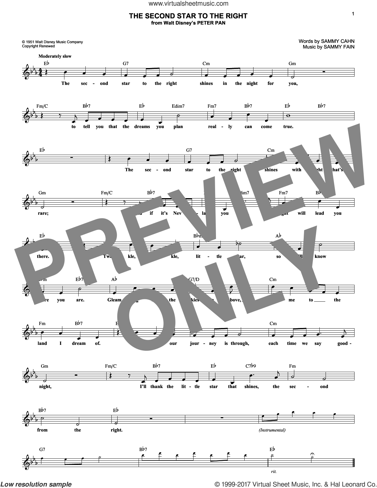 The Second Star To The Right sheet music for voice and other instruments (fake book) by Sammy Cahn and Sammy Fain. Score Image Preview.