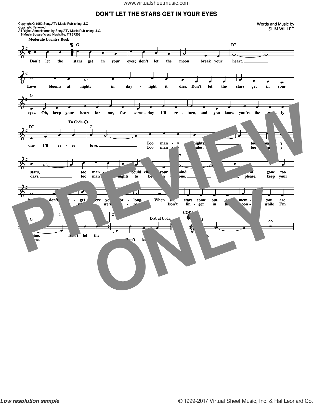 Don't Let The Stars Get In Your Eyes sheet music for voice and other instruments (fake book) by Ray Price, Skeets McDonald and Slim Willet, intermediate. Score Image Preview.