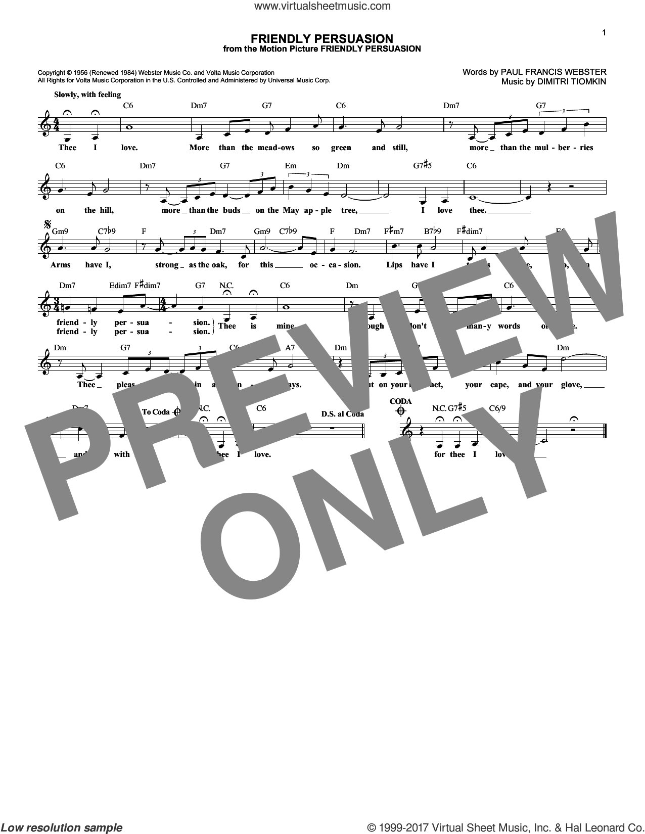 Friendly Persuasion sheet music for voice and other instruments (fake book) by Pat Boone, Dimitri Tiomkin and Paul Francis Webster, intermediate voice. Score Image Preview.