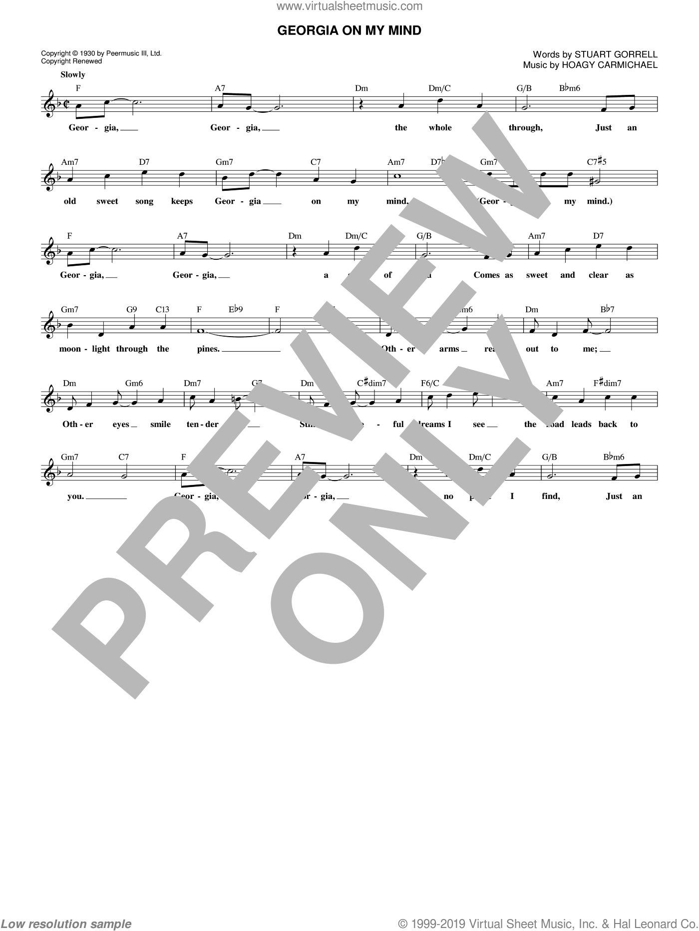 Georgia On My Mind sheet music for voice and other instruments (fake book) by Ray Charles, Willie Nelson, Hoagy Carmichael and Stuart Gorrell, intermediate skill level